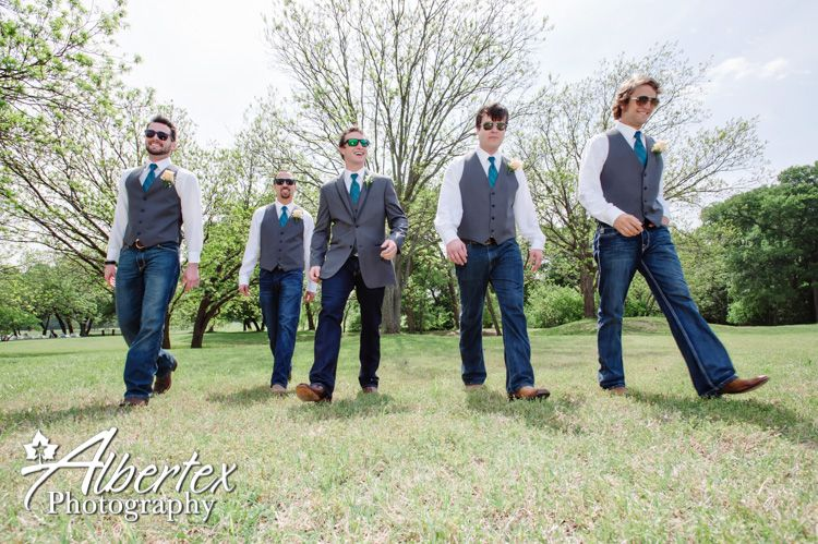 Groom In Jeans Vest And Jacket With Turquoise Tie
