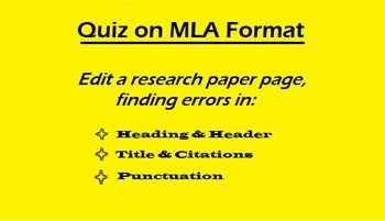 Editable Quiz On Mla Format Edit A Page For Errors Hs Ela