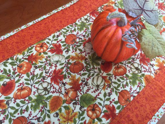 Quilted Fall Runner with Pumpkins Maple by PeggyGaylerDesigns