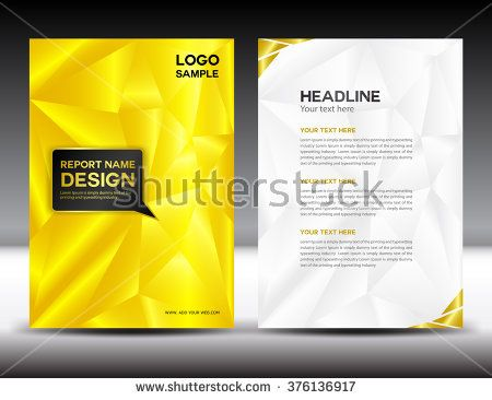 Yellow Annual report template vector illustration, polygon ...