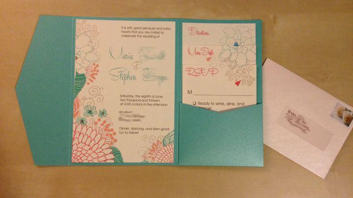 Diy Invites Coral Teal Mostly Diy Wedding Aqua Blue Coral Diy