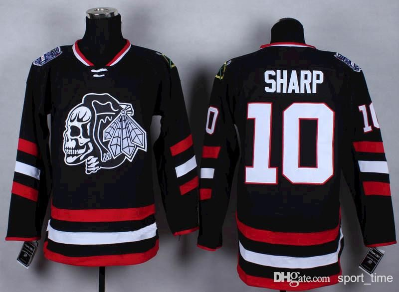 Chicago Blackhawks #10 Patrick Sharp 2014 Stadium Series Black With Black Skulls Jersey
