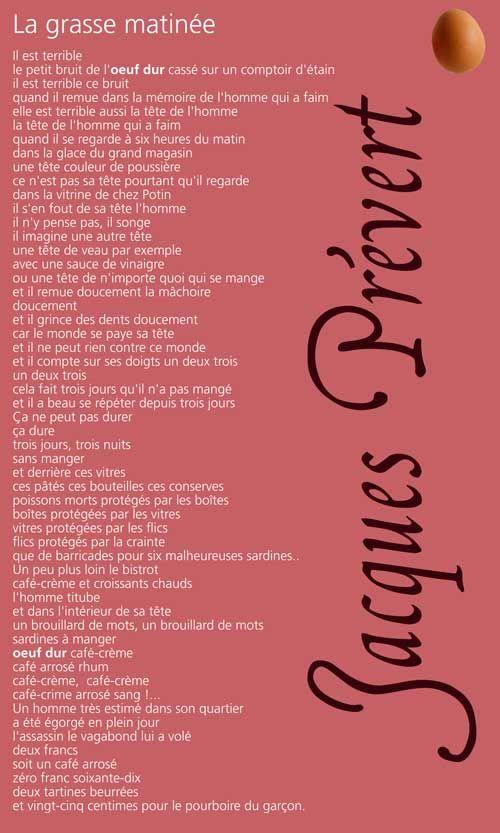 Jacques Prévert La Grasse Matinée : jacques, prévert, grasse, matinée, Prévert, Grasse, Matinée, LANGAGE, Poeme, Citation,, Prevert,, D'amour