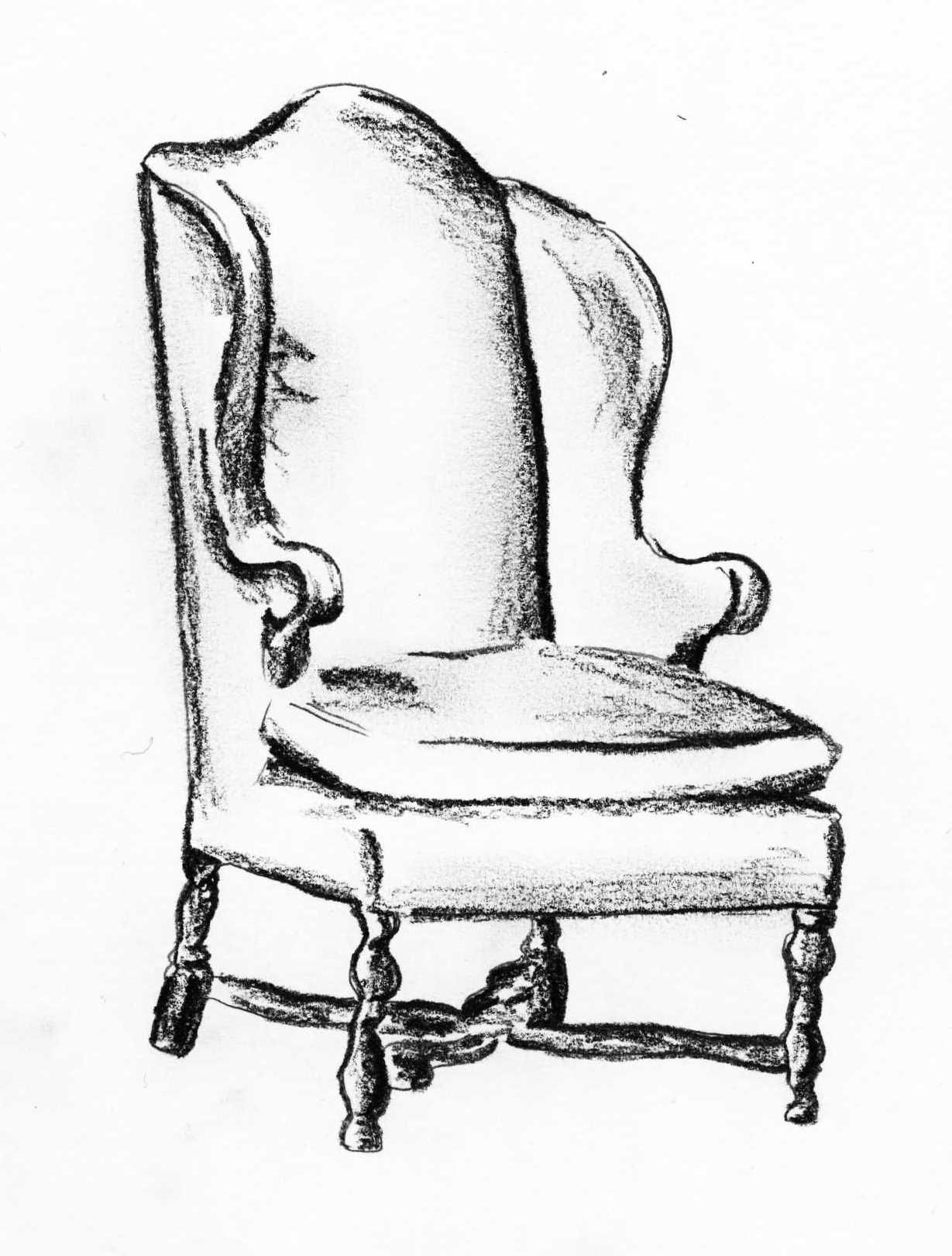 Klismos chair drawing - Queen Anne Wingback Chair Sketch Andrea Andert