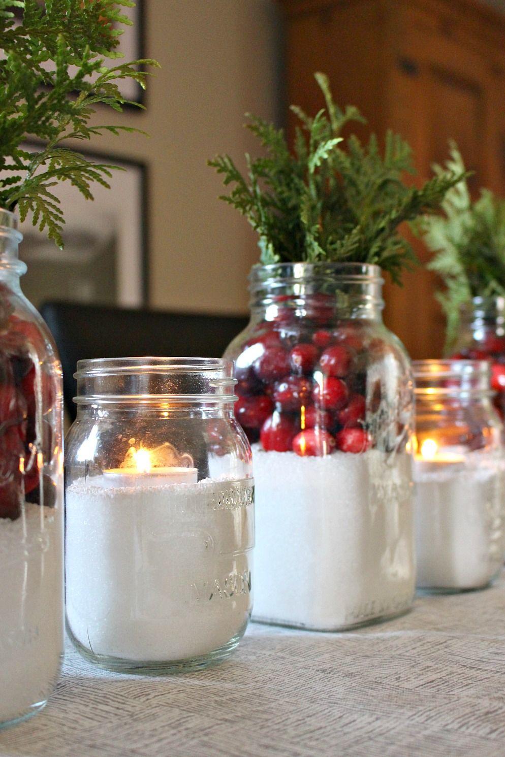 "easy cranberry and ""snow"" mason jar centerpiece | decorating"