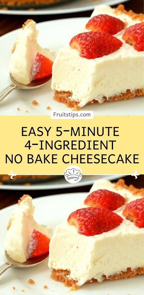 Easy 5 Minute 4 Ingredient No Bake Cheesecake In 2020 Cream Cheese Recipes Dessert Cream Cheese Desserts Easy Easy Cheesecake Recipes