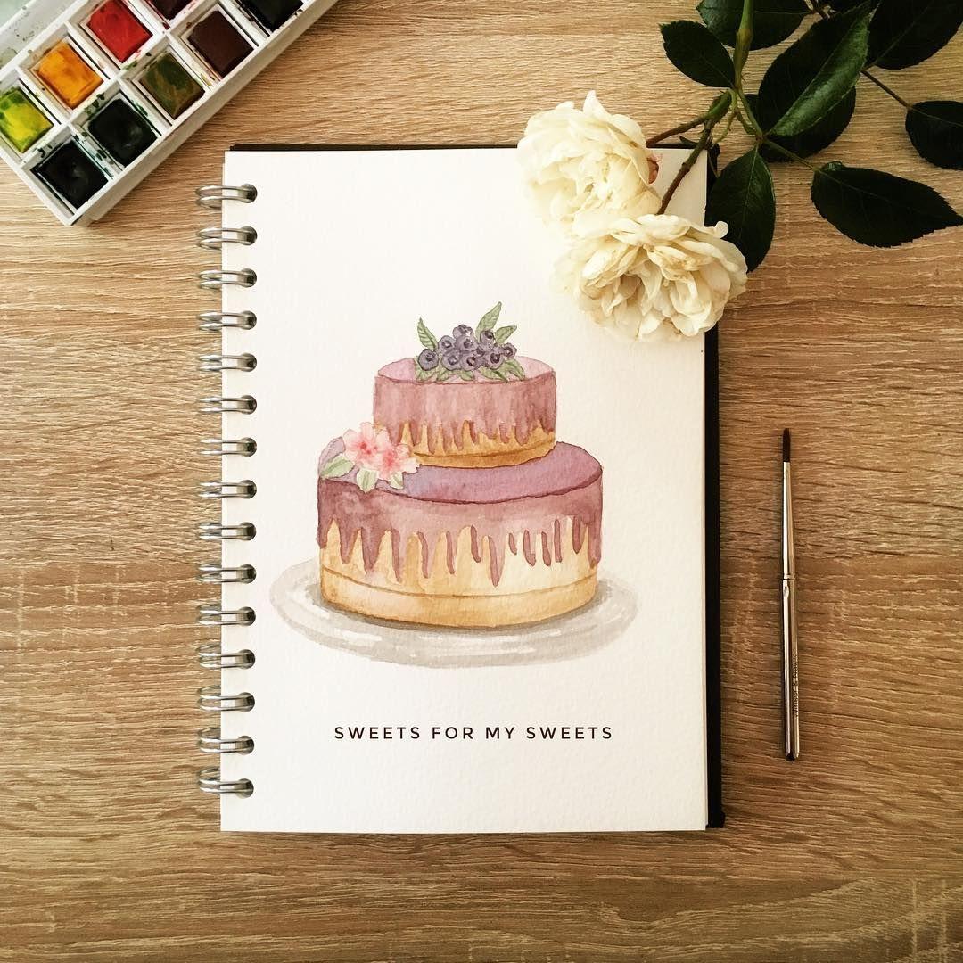 """Simone Meyer on Instagram: """"Seit Tagen hatte ich Lust, was Süßes zu malen! Jetzt gibt's eben Kuchen 🍰🎨😊! Wer will ein Stück??? 😊🙋 (unbezahlte Werbung wegen…"""" -   12 cake Drawing aquarell ideas"""