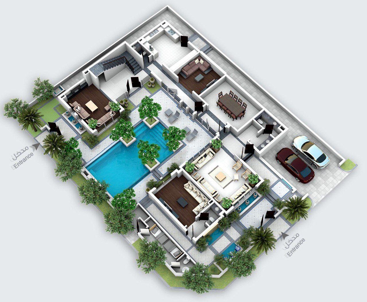 تصاميم معمارية مخطط فيلا القصبة Fantasy House House Design Design