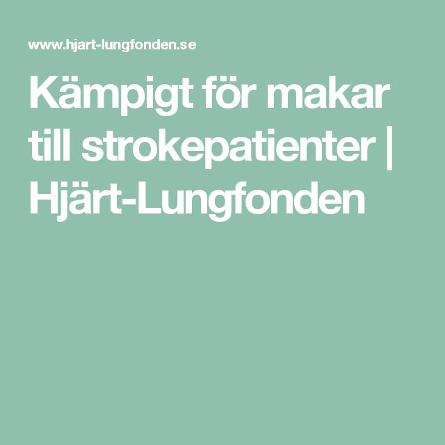 Kämpigt för makar till strokepatienter | Hjärt-Lungfonden