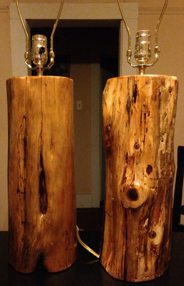 2 Handmade Wood Cedar Log Lamps/Rustic/Cabin/Lodge/Furniture/Den
