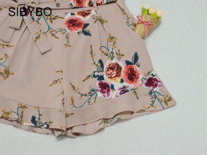 $22.98 - Cool Sibybo High Waisted Shorts Women Floral Printed Summer Ruffle Shorts Sexy Short Feminino Ruched Chiffon Shorts With Belt - Buy it Now! #chiffonshorts