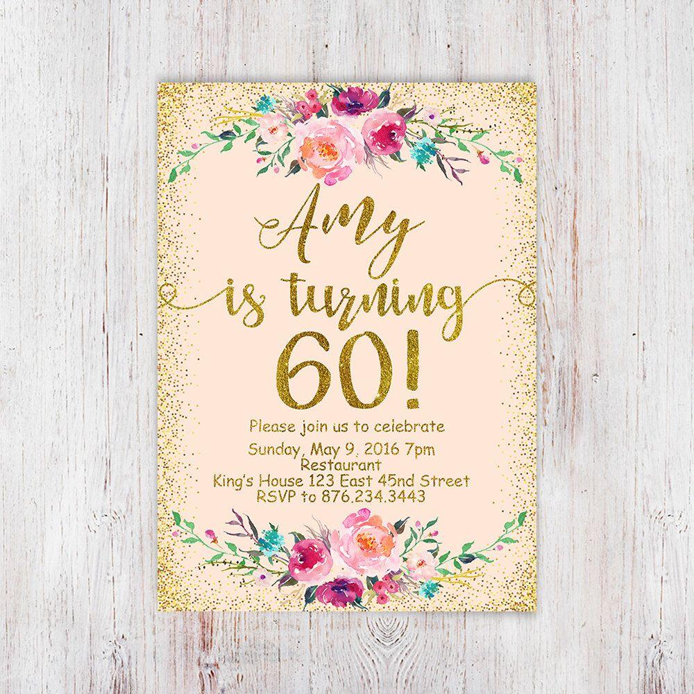 Birthday Floral, 60th birthday invitation peach and gold glitter ...