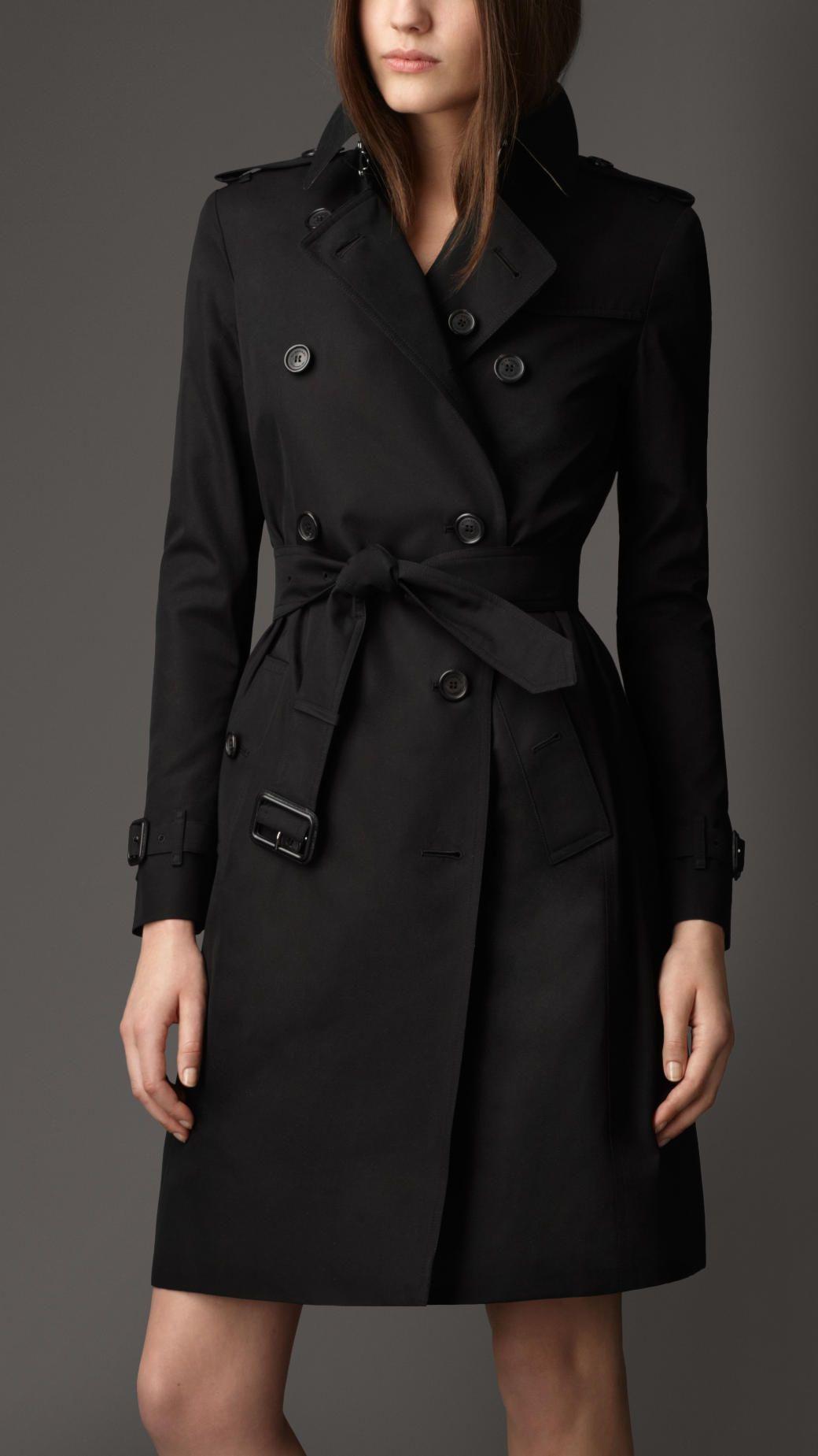 35add3a8e5 Burberry Long Cotton Gabardine Trench Coat in Black (jet black)