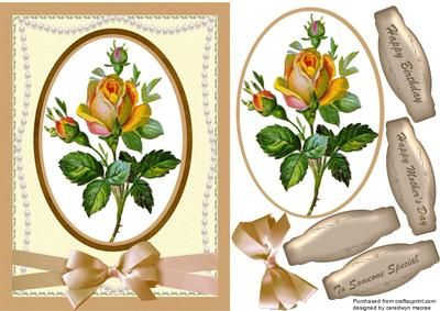 Lovely Pearls and yellow Roses  on Craftsuprint - Add To Basket!