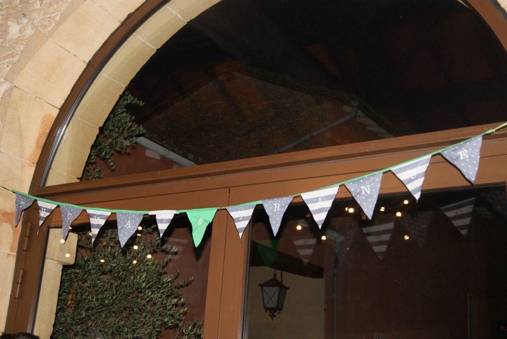 Guirlande de mariage - pimprelys - avec les prénoms des mariés brodés
