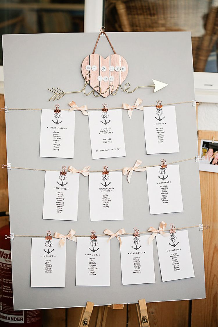 Lusty Glaze Beach Cornwall Wedding With Pretty Sparkly Touches Seating Plan Wedding Wedding Table Planner Wedding Table Plan