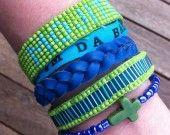"""manchette de bracelets brésiliens vert et bleu """"mojito"""""""