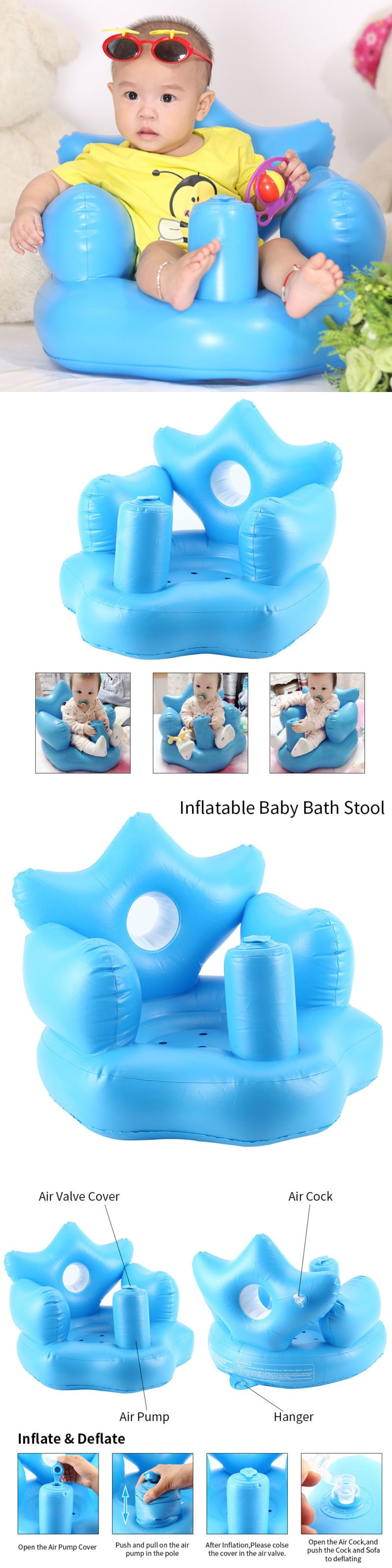Bath Tub Seats and Rings 162024: Baby Inflatable Sofa Toddlers Sit ...