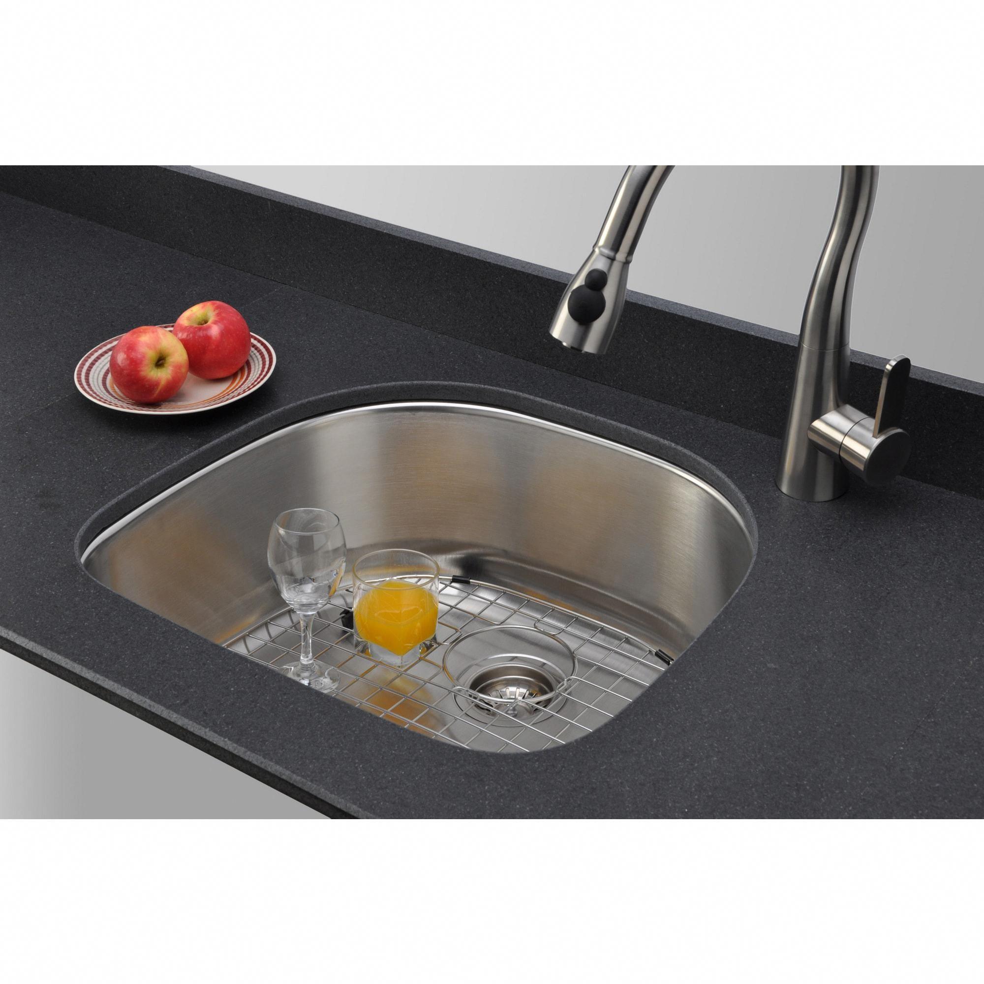 Wells Sinkware Craftsmen Series 24 Inch 16 Gauge Undermount D Shape Single Bowl Stainless Steel Silver Kitchen Sin Sink Kitchen Sink Single Bowl Kitchen Sink