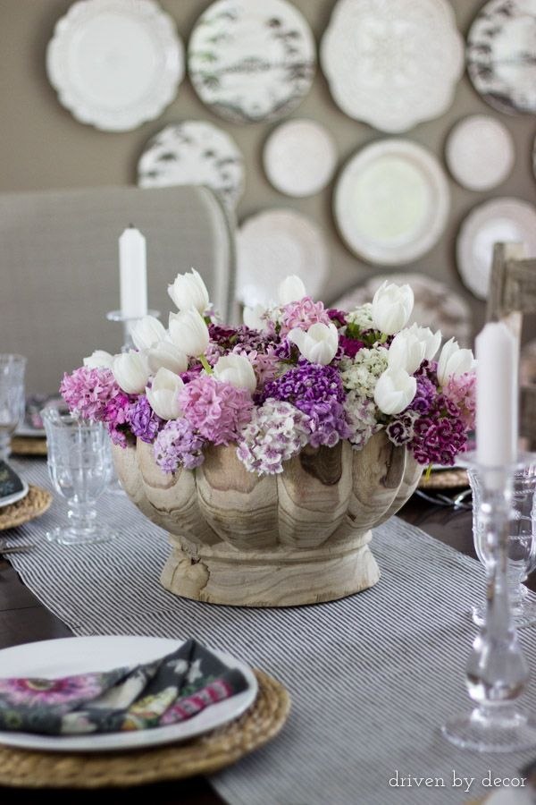 Dining Room Centerpiece With White Tulips Mixed Colorful Flowers
