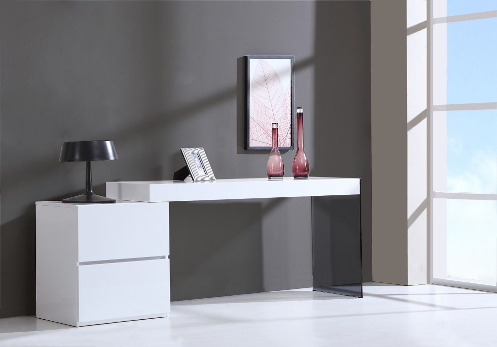 Contemporary Two Drawer White High Gloss Office Desk With Glass Leg Modern Office Desk Office Desk Glass Office Desk Modern