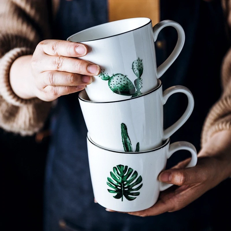 Cute Ceramic Nordic Style Coffee Mugs White With Green Leaves Cactus Prints Scandinavian Mugs Mugs Ceramics