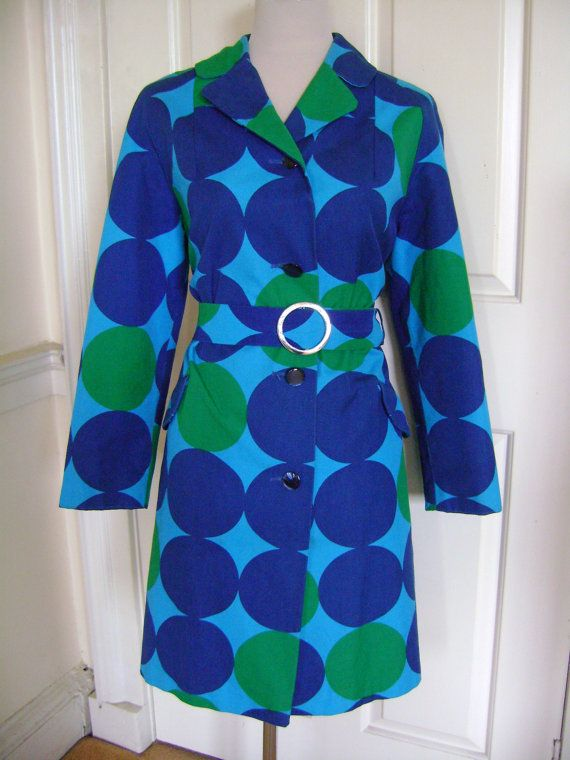 Fantastic blue and green 60s circleprint belted mac, £65.00, https://www.etsy.com/listing/83714372/fantastic-blue-and-green-60s-circle