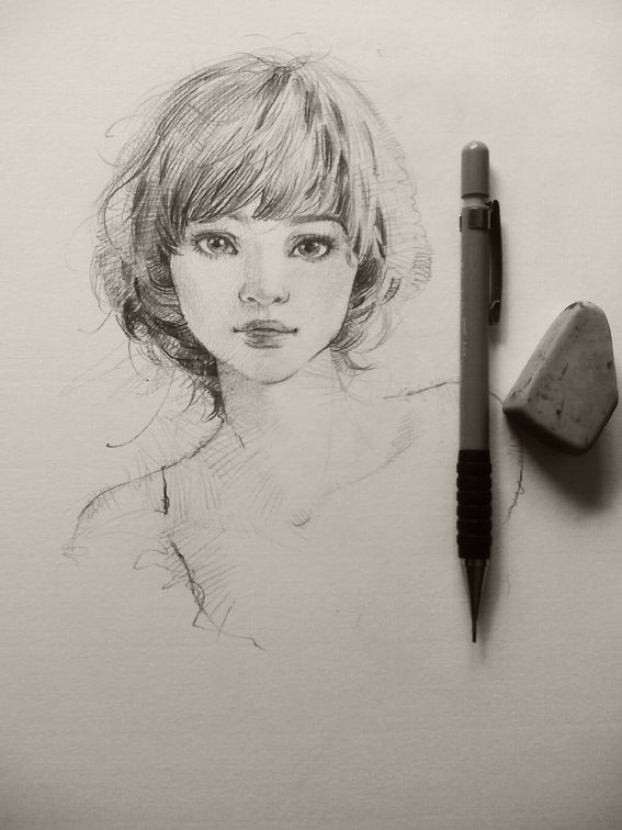 Face of a young girl sketch love her face so much