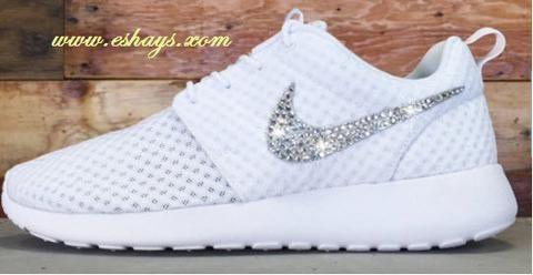Rhinestone White Nike Roshe Runs - Eshays, LLC | Eshays, LLC