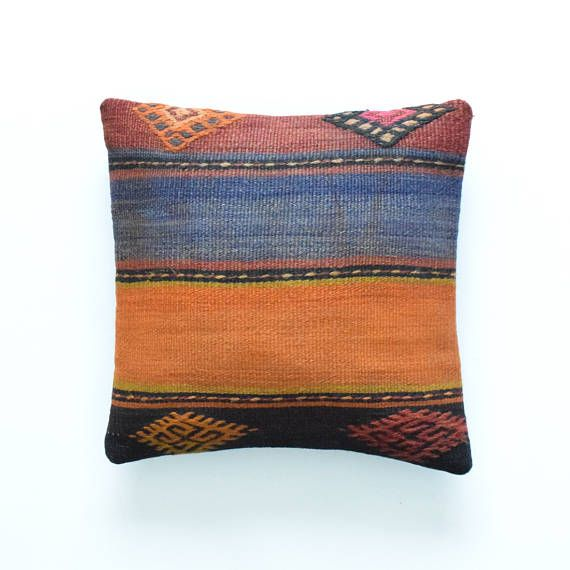 "Kilim rug pillow cover 16""x16"" 40x40cm 006"