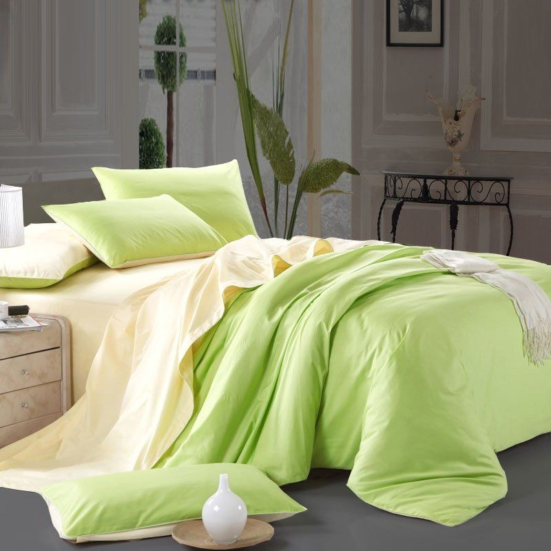 Contemporary Modern Bright Green And Cream Color Blocking Simply Chic 100 Natural Cotton Twin Full Queen Size Bedding Sets