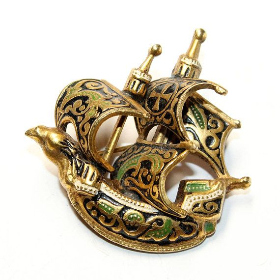 Toledo Galleon Brooch Spanish Galleon Gold Coloured Black Jewelry