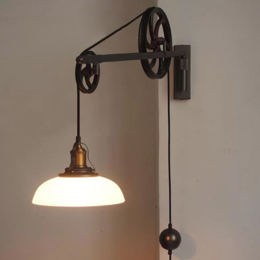 Chester Art Deco Pulley Vintage Wall Light Retro Rustic Industrial Design