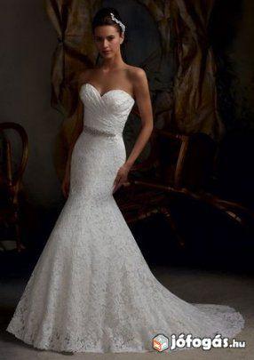 Új csipkés sellő menyasszonyi ruha 34 36 (S M) hófehér színű ... eac24798e5