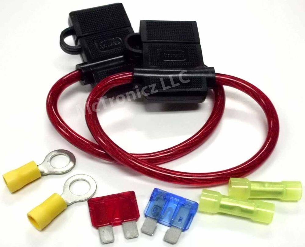 2 PACK 10 GA ATC InLine Fuse Holder & Connectors