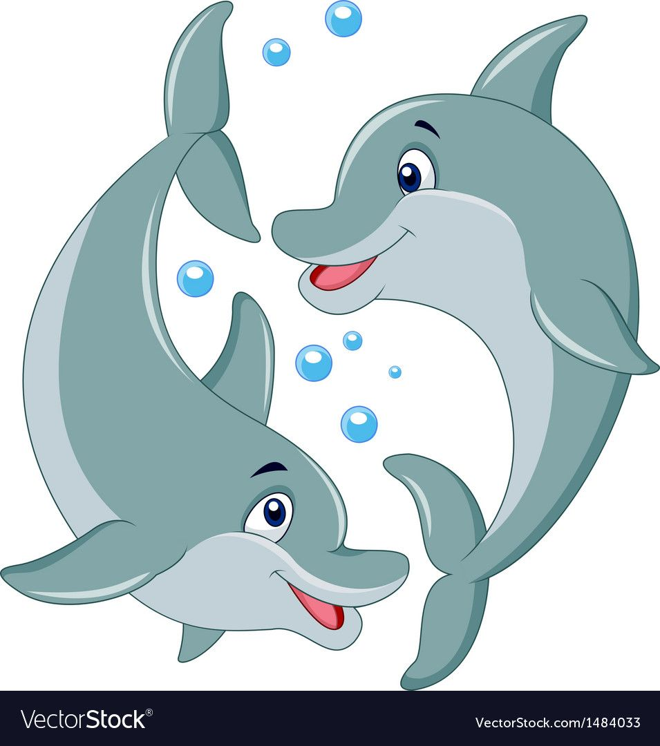 Vector Illustration Of Cute Dolphin Couple Cartoon Download A Free Preview Or High Quality Adobe Illustrator A Cartoon Dolphin Cartoon Posters Cartoons Vector