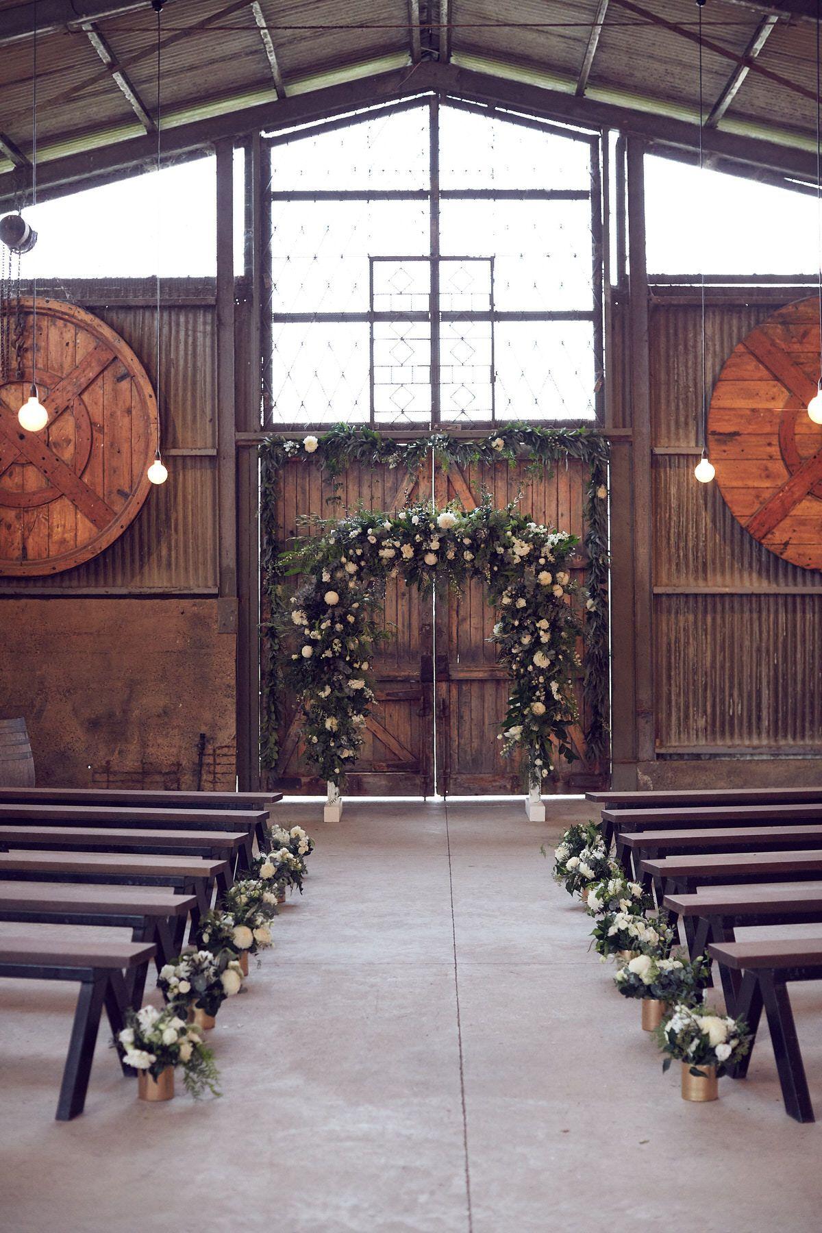Laura & Jarrod's Modern All White Winery Wedding Wedding