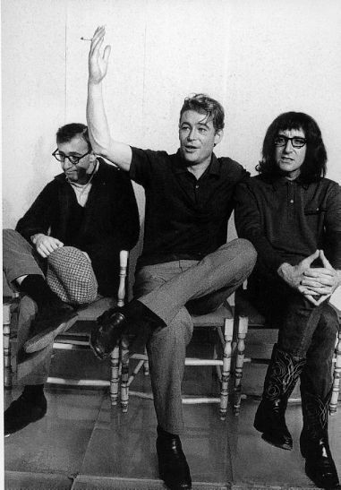 Woody Allen, Peter O'Toole and Peter Sellers on the set of 1965′s madcap What's New Pussycat?, all three at the beginning of what would be stellar cinematic careers.