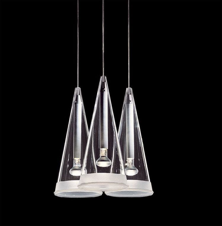 Fz203 flos fucsia 3 cone modern glass pendant designed by achille castiglioni conical drop ceiling light
