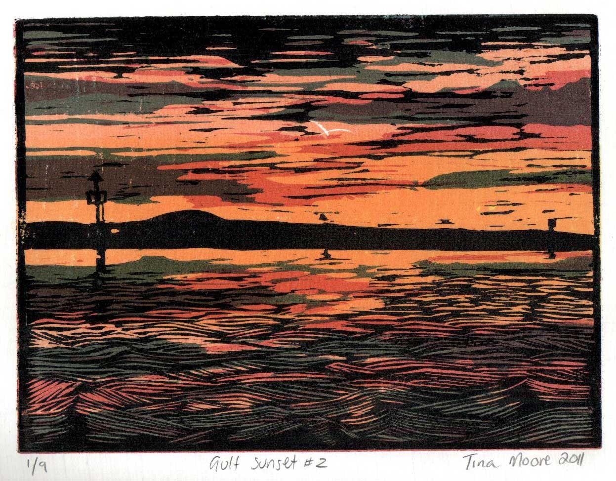 Gulf Sunset woodblock print. $100.00, via Etsy.