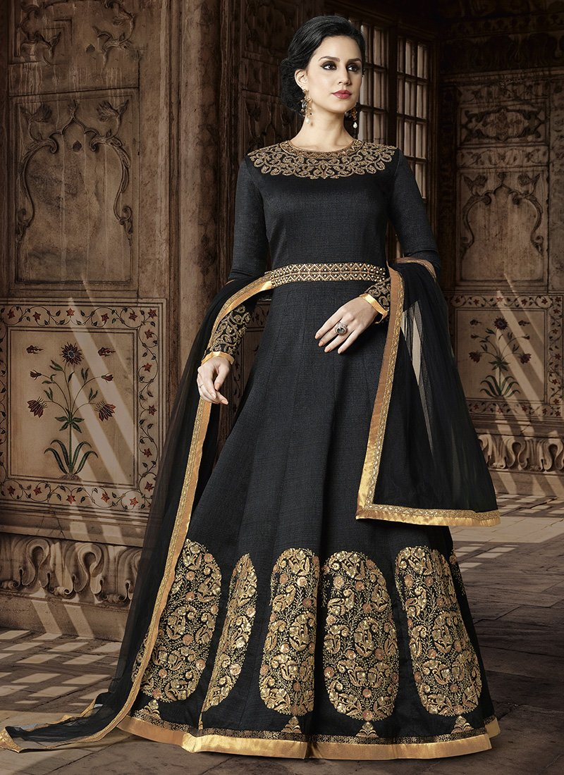 3541c6b20d Black and Gold Embroidered Silk Anarkali Suit in 2019 | Sally | Silk ...