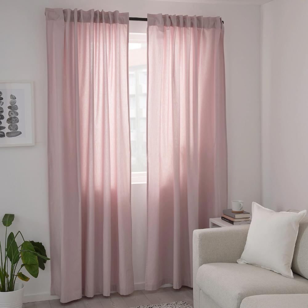 Kalkfly Curtains 1 Pair Light Pink 57x98 Ikea In 2021 Light Pink Rooms Pink Living Room Decor Light Pink Bedrooms