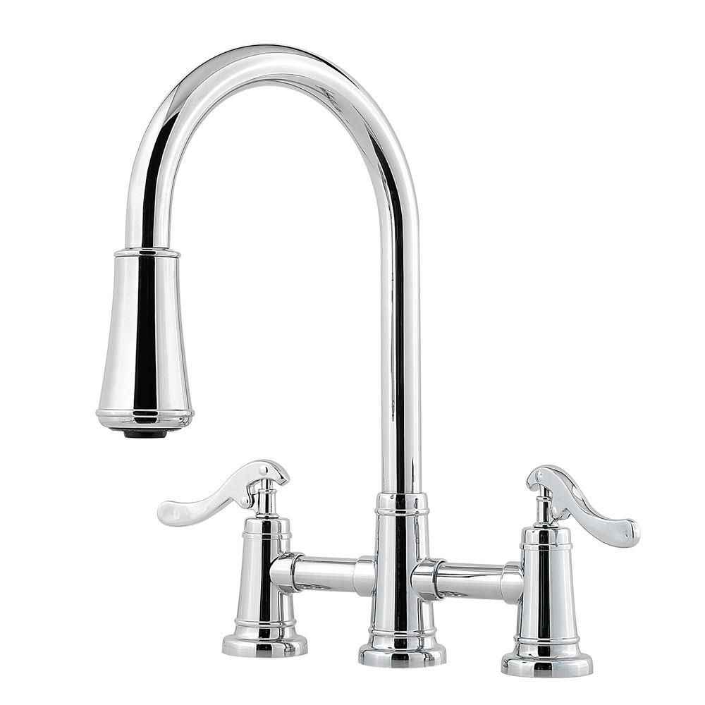 Pfister Ashfield 2 Handle Pull Down Sprayer Kitchen Faucet With Bridge In Polished Chrome Lg531 Yp With Images Chrome Kitchen Faucet Kitchen Faucet High Arc Kitchen Faucet