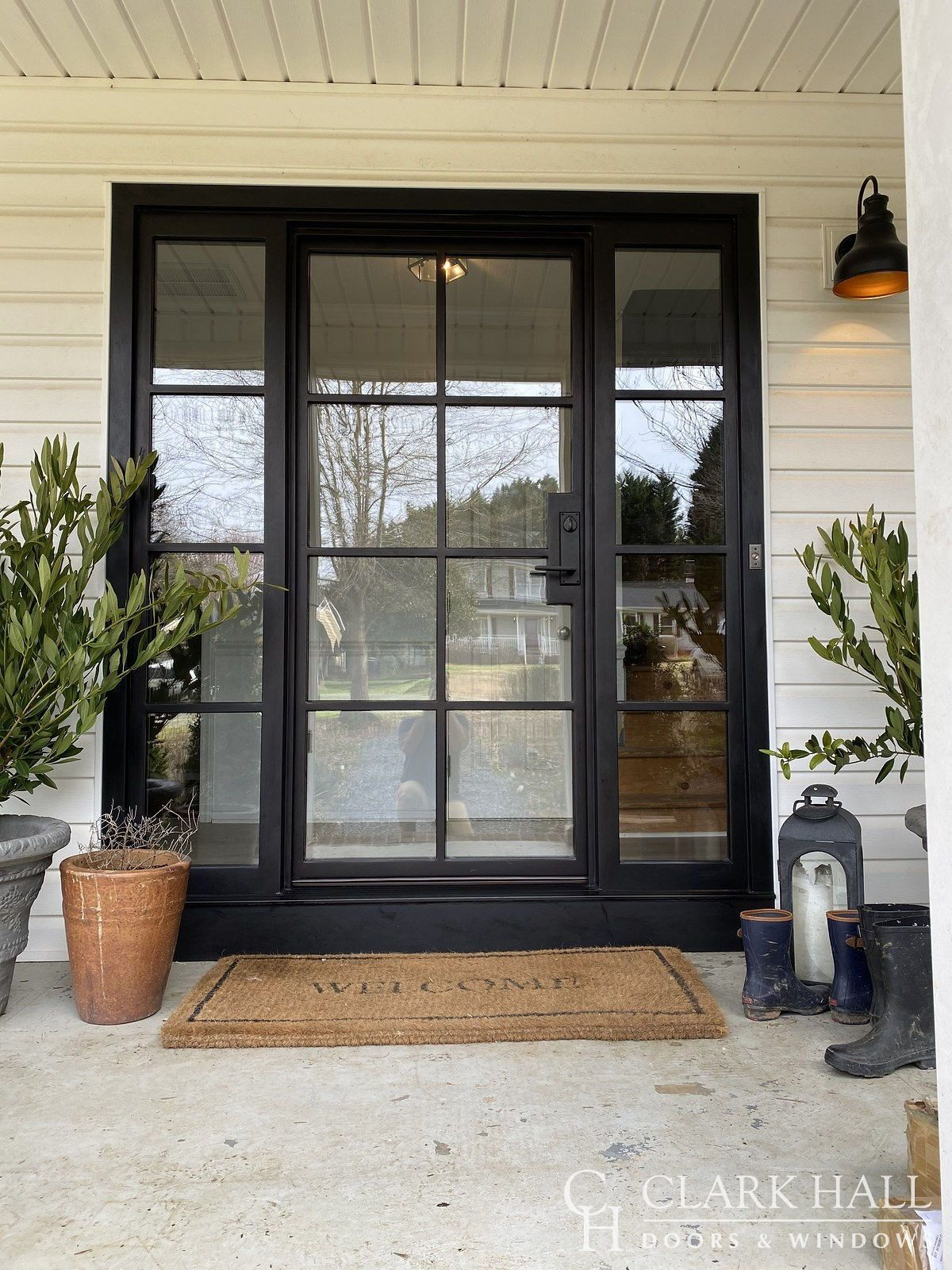 Custom Iron Front Doors Transform The Design Of Any Entrance With Large Side Lights With Glass Panels And Windows To