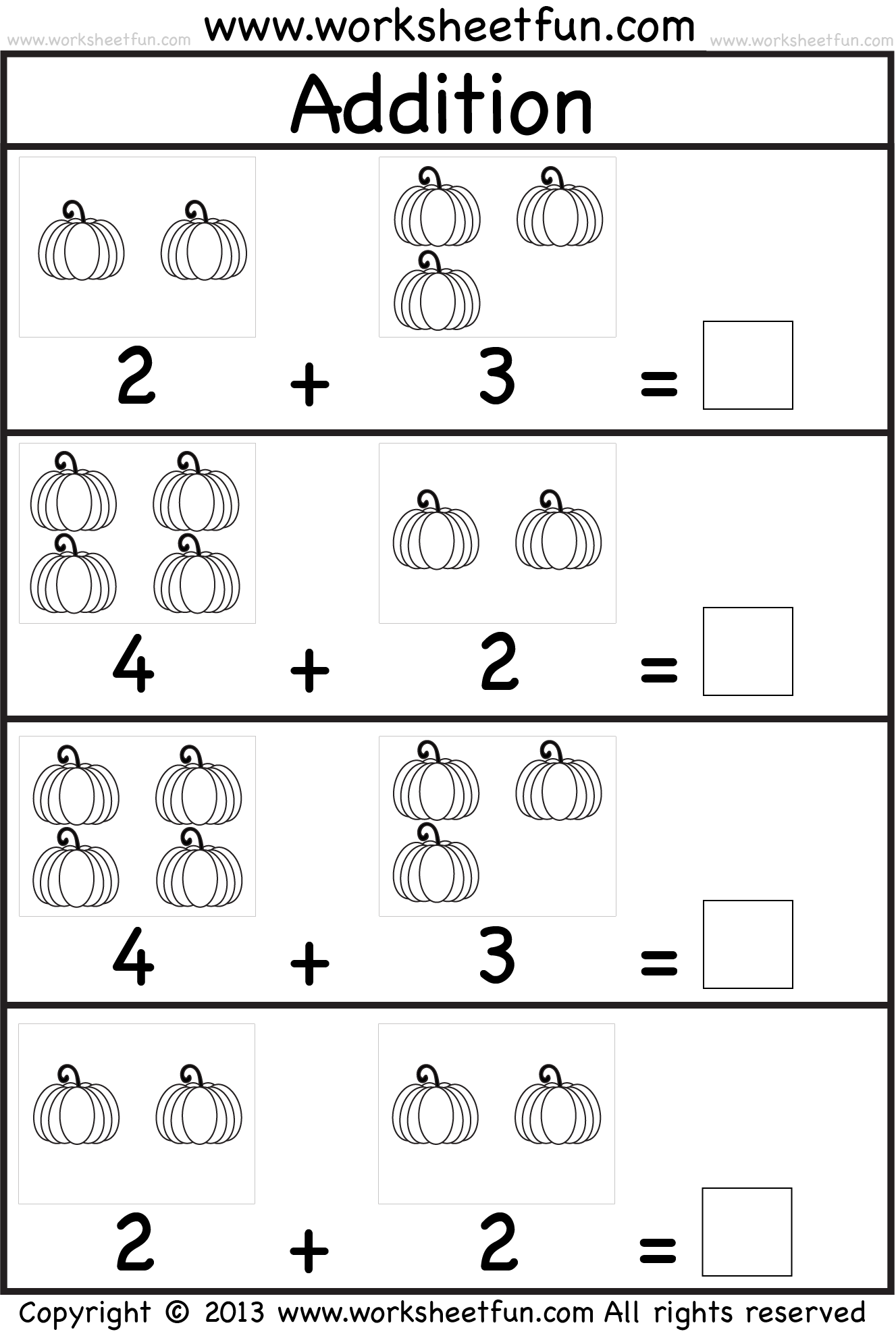 Kids practice adding singledigit numbers and writing the sums on – Addition Worksheets Kindergarten Printable