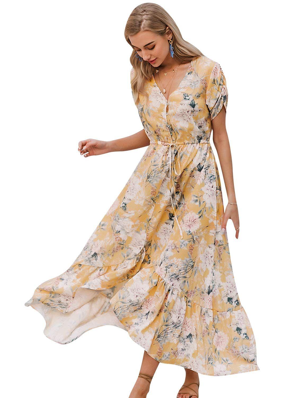 Simplee Women S Floral V Neck Wrap Maxi Dress Summer Beach Flowy Long Dresses Sponsored Flowy Dress Long Maxi Wrap Dress Summer Maxi Dress [ 1500 x 1125 Pixel ]