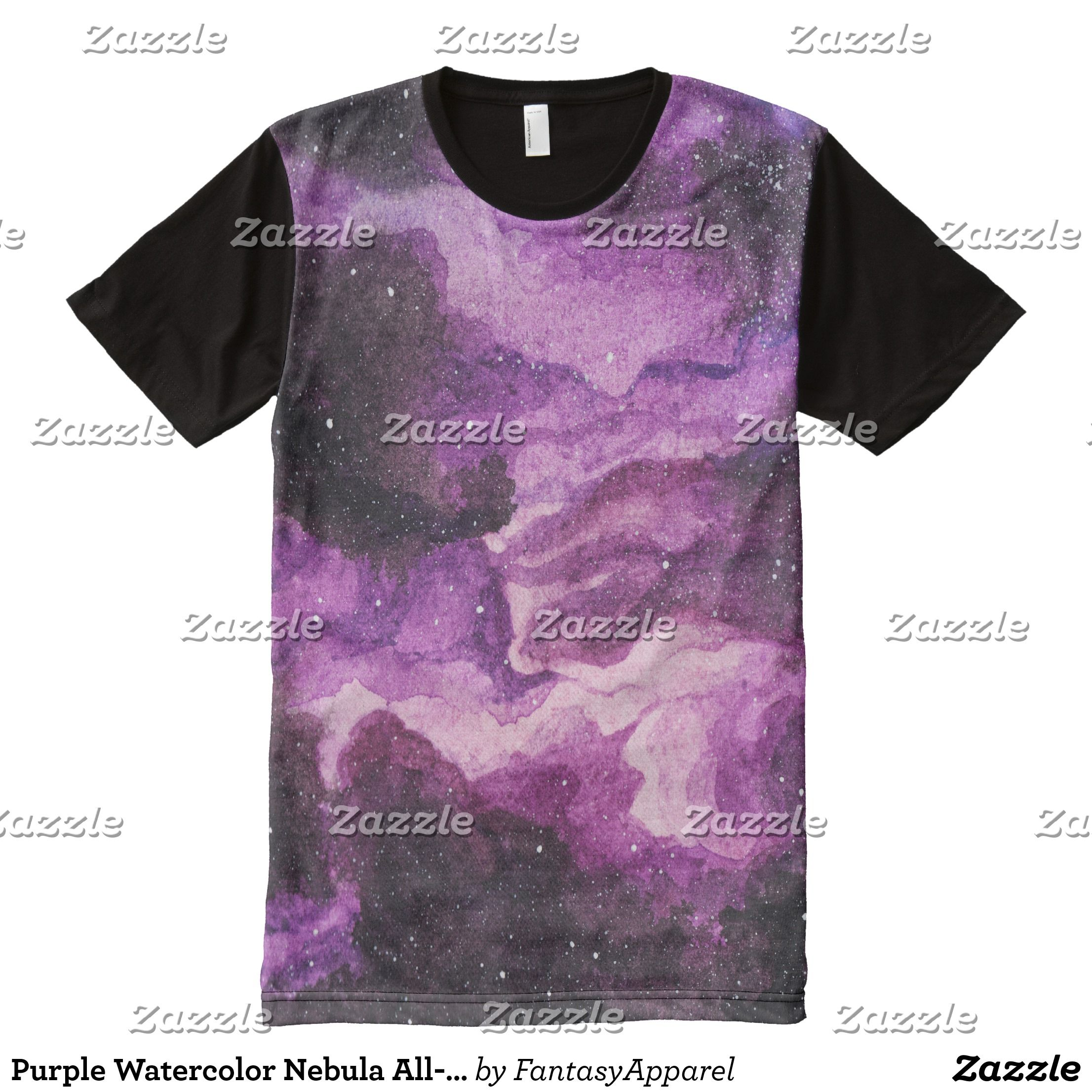 Purple Watercolor Nebula All Over Print T Shirt Visually
