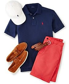 Polo Ralph Lauren Men's Sports Cap, Solid Polo Shirt, Stretch Shorts, Leather Belt & Boat Shoes
