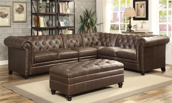 Roy Traditional Brown Faux Leather Tufted Back Living Room Set Tufted Sectional Sofa Leather Sectional Sofas Leather Sofa Living Room