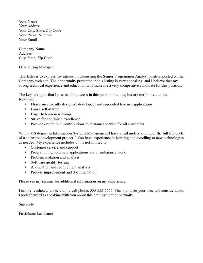 cover letter sample - It Cover Letter Sample